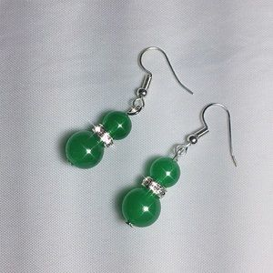 Jewelry - High-grade Fashion 925 Natural Green Jade earrings